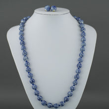 "Load image into Gallery viewer, Vintage Chinese knotted porcelain graduated bead necklace 25"" filigree clasp and earrings"