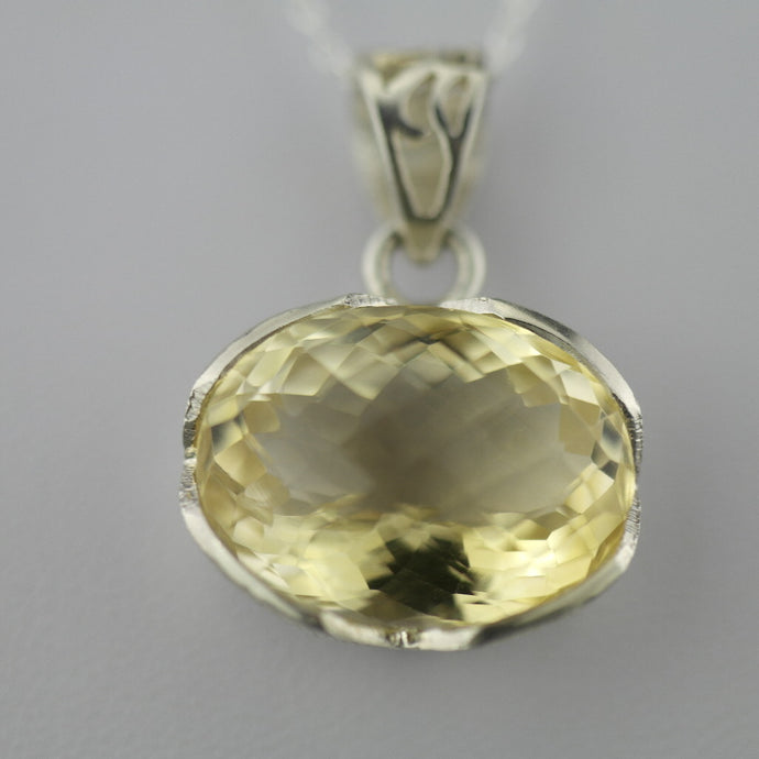 Stunning Citrine gemstone pendant with sterling silver chain from