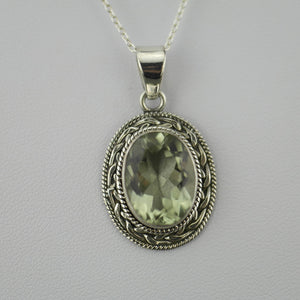 7.12ct Green Amethyst gemstone pendant on sterling silver chain