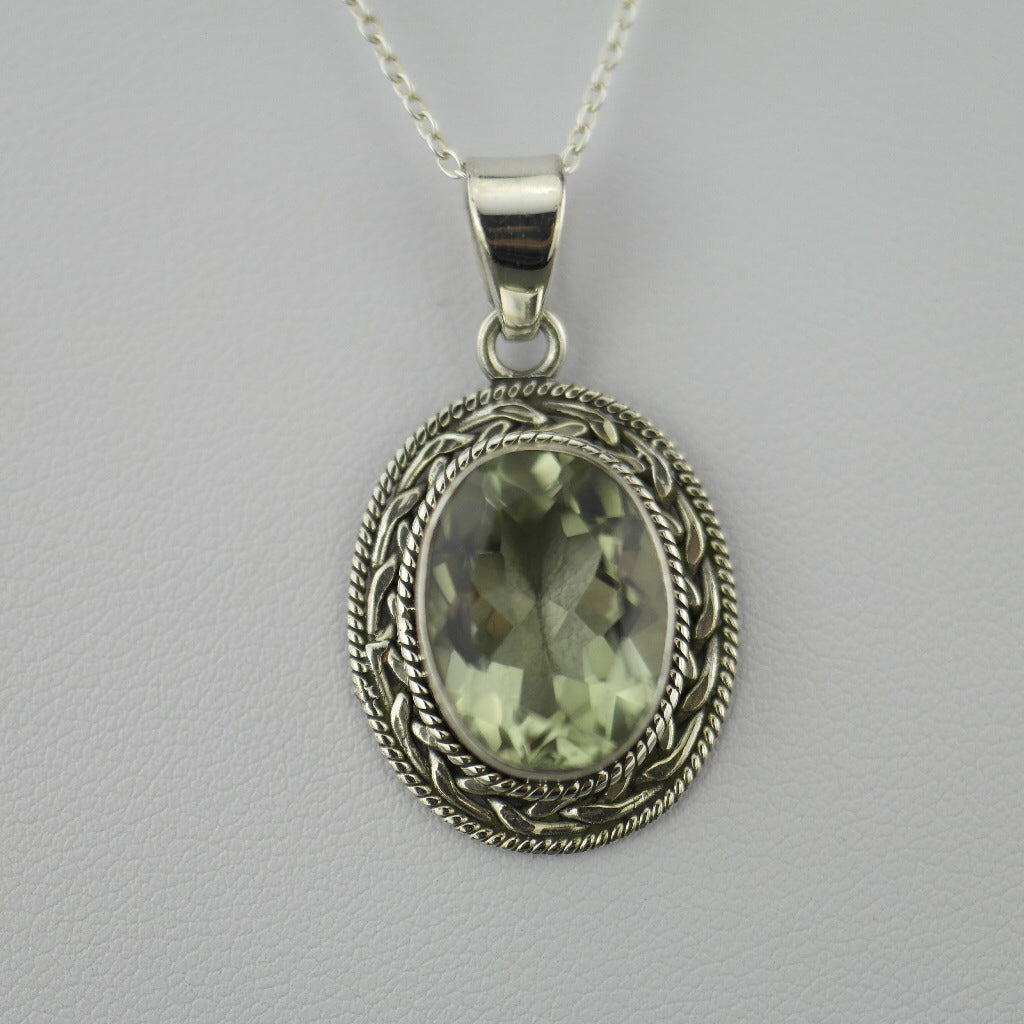 Cassiopeia 7.12ct Green Amethyst pendant on sterling silver chain