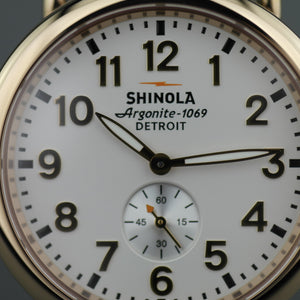 Shinola The Runwell wristwatch with silver dial and natural leather strap
