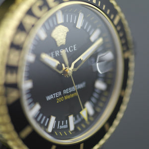 Versace V-Race black dial diver gold plated wristwatch