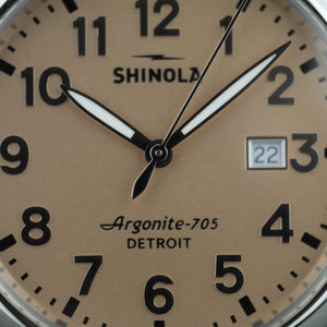 Shinola The Runwell wristwatch with copper dial and Aniline Latigo Leather strap