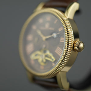 Constantin Weisz Open heart automatic wrist watch gold tone bronze dial