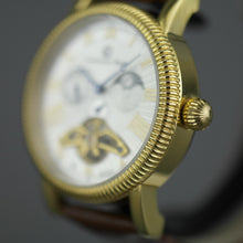 Load image into Gallery viewer, Constantin Weisz Open heart automatic wrist watch gold tone silver dial