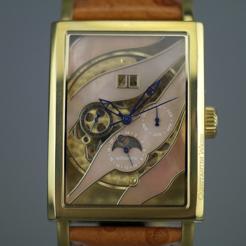 Constantin Weisz Automatic gold plated wrist watch Skeleton Nacre dial