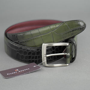 Elliot Rhodes Gents Casual full grain leather belt a Mock Caiman effect