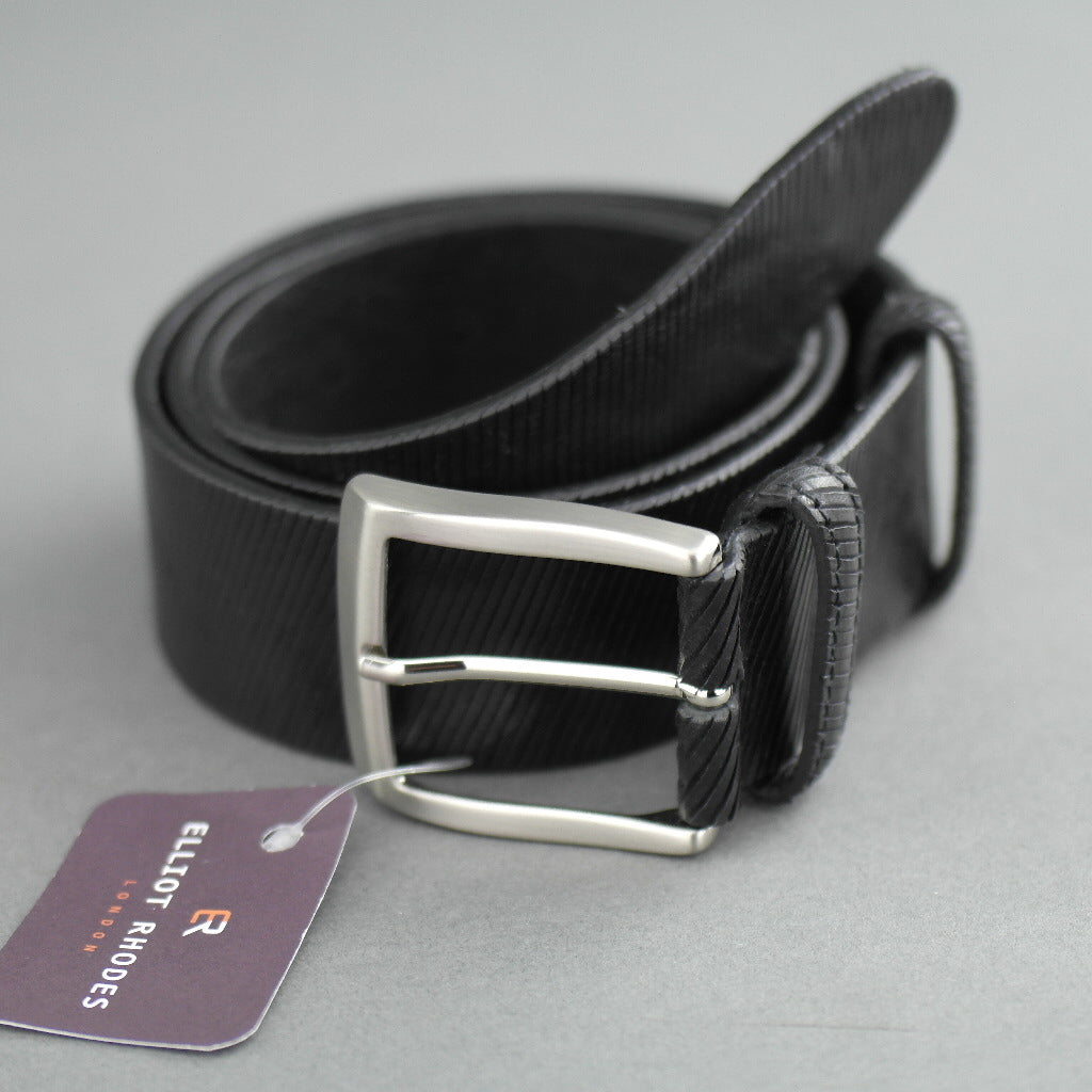 Elliot Rhodes Gents Casual black laser cut full grain leather belt