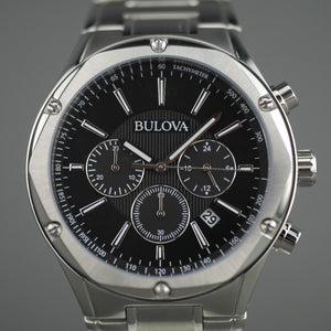Bulova Chronograph watch Black dial Stainless steel bracelet