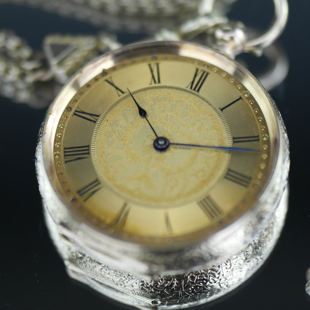Antique 14ct gold pocket watch with chain T-bar key Roman numerals, open face