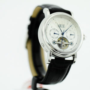 Automatic open heart wrist watch Constantin Weisz 20 jewels black leather strap