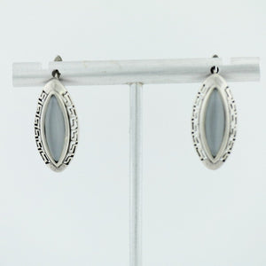 Vintage sterling silver earrings moon stone 925 great solid gift Greek key