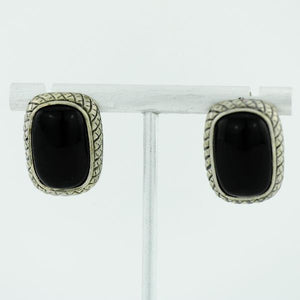 Vintage Chinese export sterling silver earrings with Black onyx stone ATI