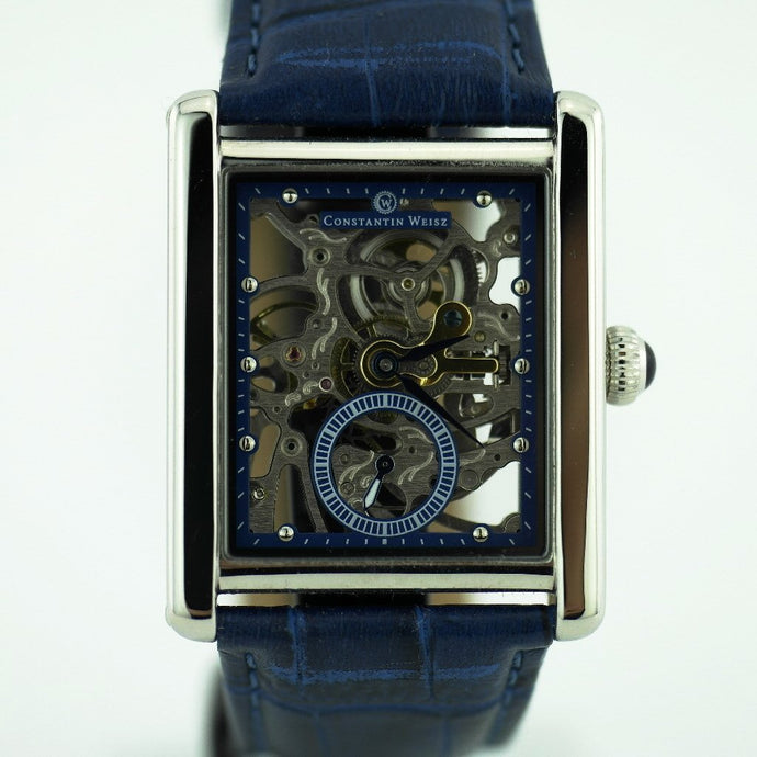 Mechanic Constantin Weisz skeleton wrist watch blue dial and leather strap