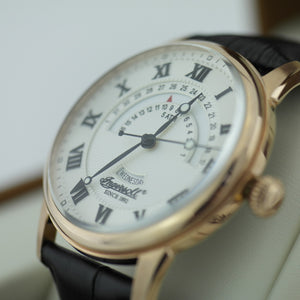 Gold plated Ingersoll Panton wrist watch quartz Roman numerals leather strap