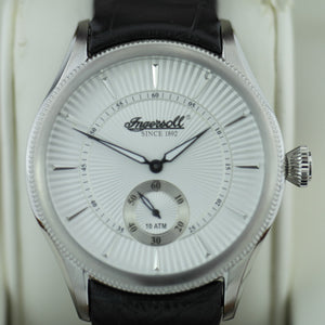 Retro Style quartz Ingersoll Bloomsbury wrist watch black leather strap