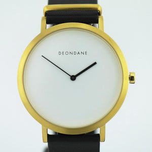 The Gold and White ultra-cool wrist watch Deon Dane Kangaroo leather strap