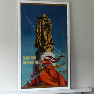 Vintage Original Motivation poster 1969 Glory for Soldier Liberator USSR interior print