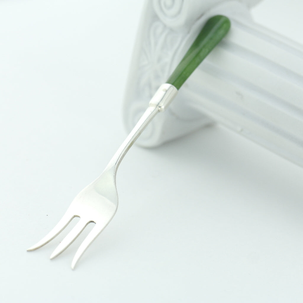 Antique 1908 sterling silver fork with green Jade / Nephrite handle