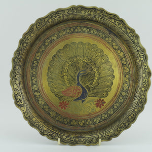 Antique brass enamel plate decorative peacock