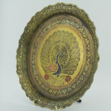 Load image into Gallery viewer, Antique brass enamel plate decorative peacock