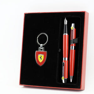 Sheaffer Ferrari 300 Rosso Corsa set of Ballpoint, Fountain Pens and keychain