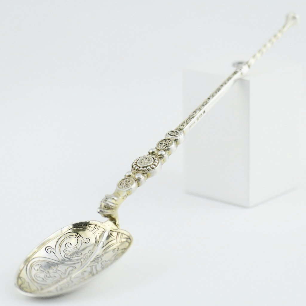 Antique 1901 sterling silver anointing spoon 23cm made by Gourdel Vales in Birmingham