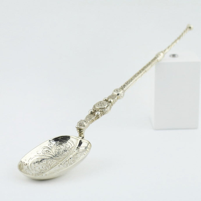 250mm Antique 1902 sterling silver anointing spoon London Royal Coronation gift