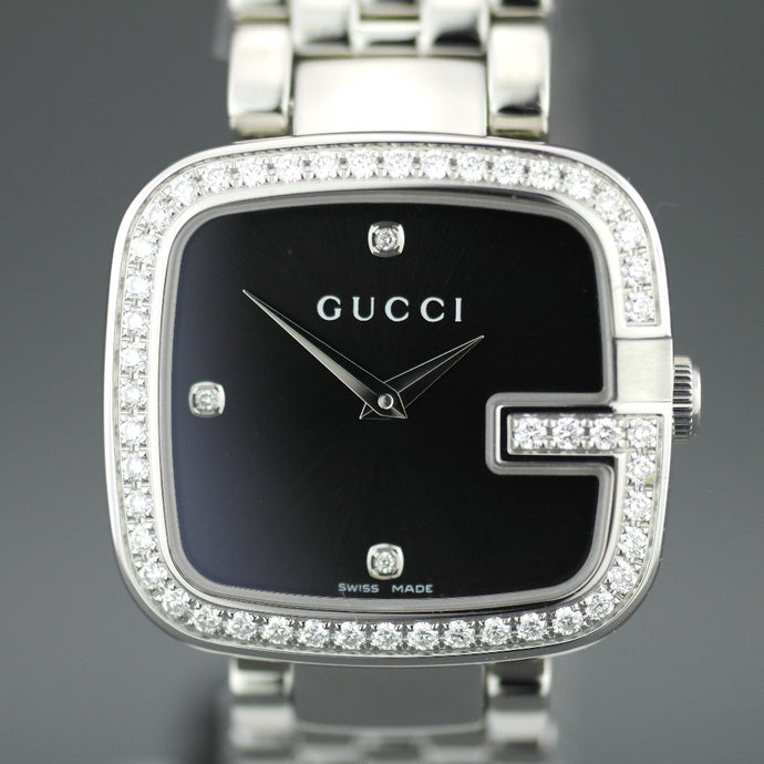 Elegant Gucci ladies wrist watch with 1.01 ct Diamonds encrusted bezel G-Gucci