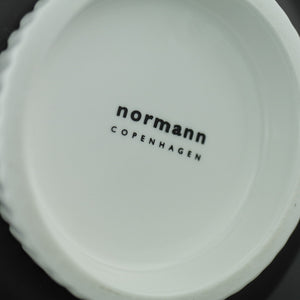 Normann Copenhagen large vase 'Nyhavn' hand painted white in black