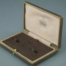 Antique brown Leather box for set of cufflinks an studs made in London