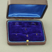Load image into Gallery viewer, Antique leather brown box for set of cufflinks and studs