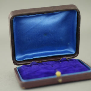 Antique leather brown box for set of cufflinks and studs