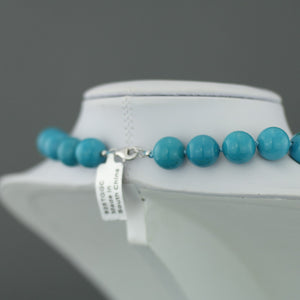 "Limited Edition 436ct Turquoise beads 18"" Necklace sterling silver clasp with Certificate"