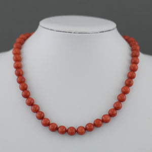 Knotted dyed red Coral beads Necklace with gold plated clasp