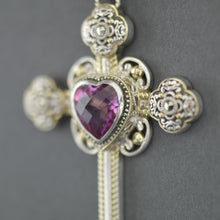Load image into Gallery viewer, Vintage Gold plated Sterling silver cross with Topaz and Marcasite stones