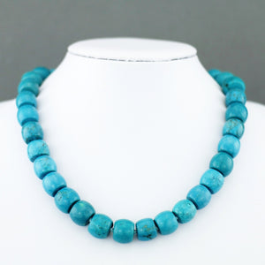 "Limited Edition 550ct Turquoise beads 18"" Necklace with sterling silver clasp and Certificate"