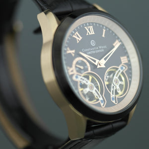 Limited Edition Constantin Weisz Gent's automatic gold plated dual balance wheel wrist watch