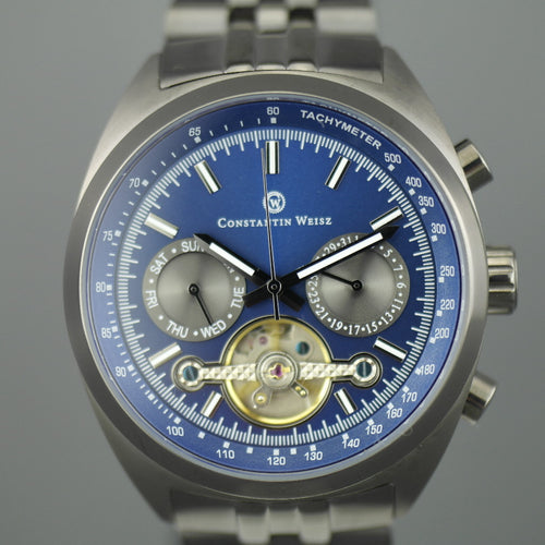 Constantin Weisz Gent's Automatic 20 jewels Open heart wrist watch Tachymeter