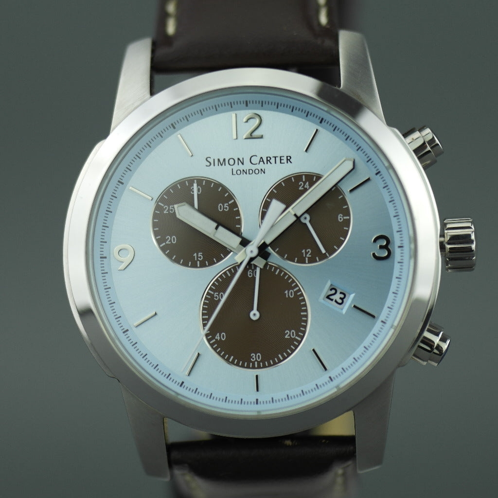 Simon Carter blue face Chronograph Gents watch with leather strap