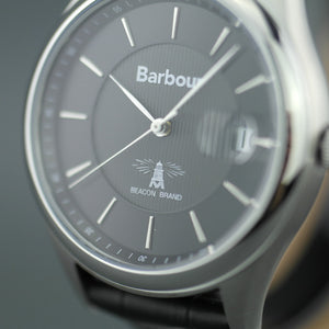 Barbour Heaton Gents watch with Swiss movement and black leather strap