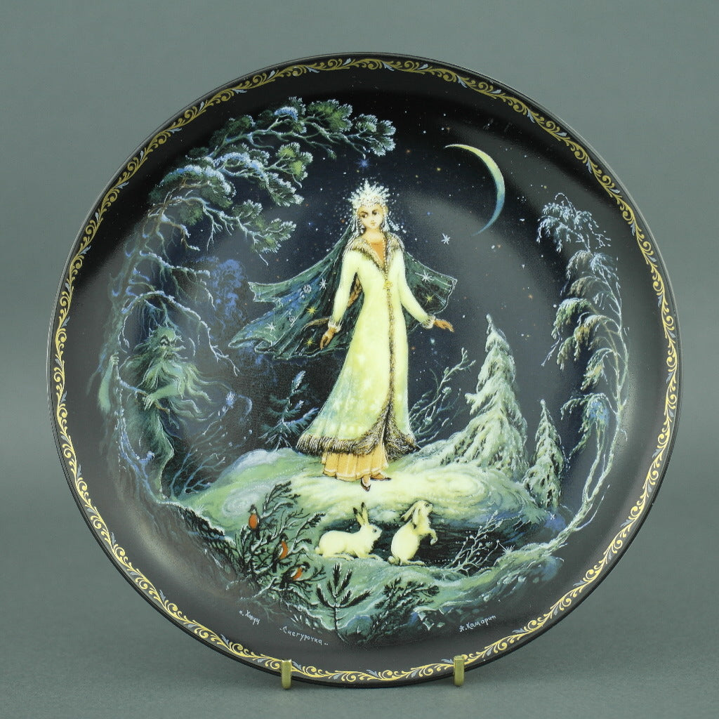 Wall Decor Russian tales plate - The Snow Maiden - from Kholui Art Studio