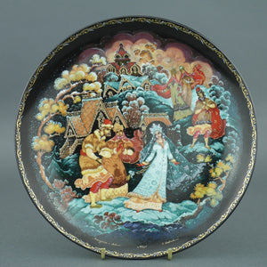 Wall Decor Russian tales plate - The Snow Maiden and Her Parents - from Kholui Art Studio