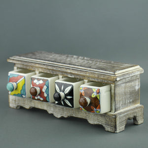 Wooden chest of draw with ceramic drawers for Tea bags