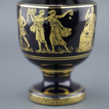 Load image into Gallery viewer, Vintage Greek style 24k Gold plated pottery ceramic jug Royal Blue