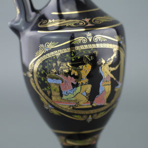 Vintage Greek style 24k Gold plated pottery ceramic jug Royal Blue