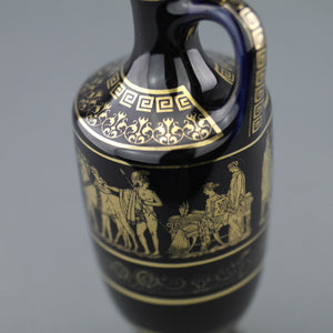 Vintage Greek 24ct Gold plated Royal Blue pottery oil jug - Ancient World Scene