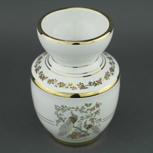 Vintage Greek 24ct Gold plated white pottery vase jug Peafowl in flowering bushes