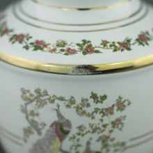 Load image into Gallery viewer, Vintage Greek 24ct Gold plated white pottery vase jug Peafowl in flowering bushes