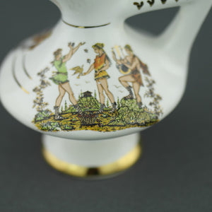 Vintage Greek 24ct Gold plated white pottery oil jug - Ancient world scene